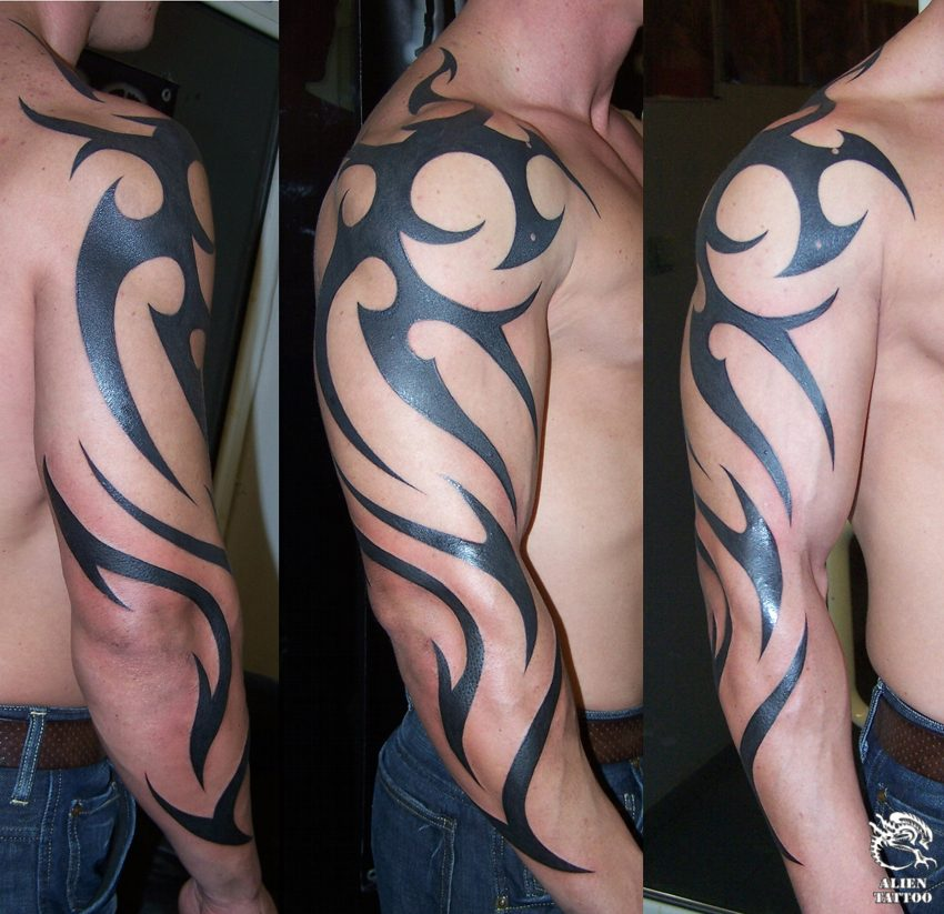 Red And  Black Aries Tribal Tattoo photo - 3