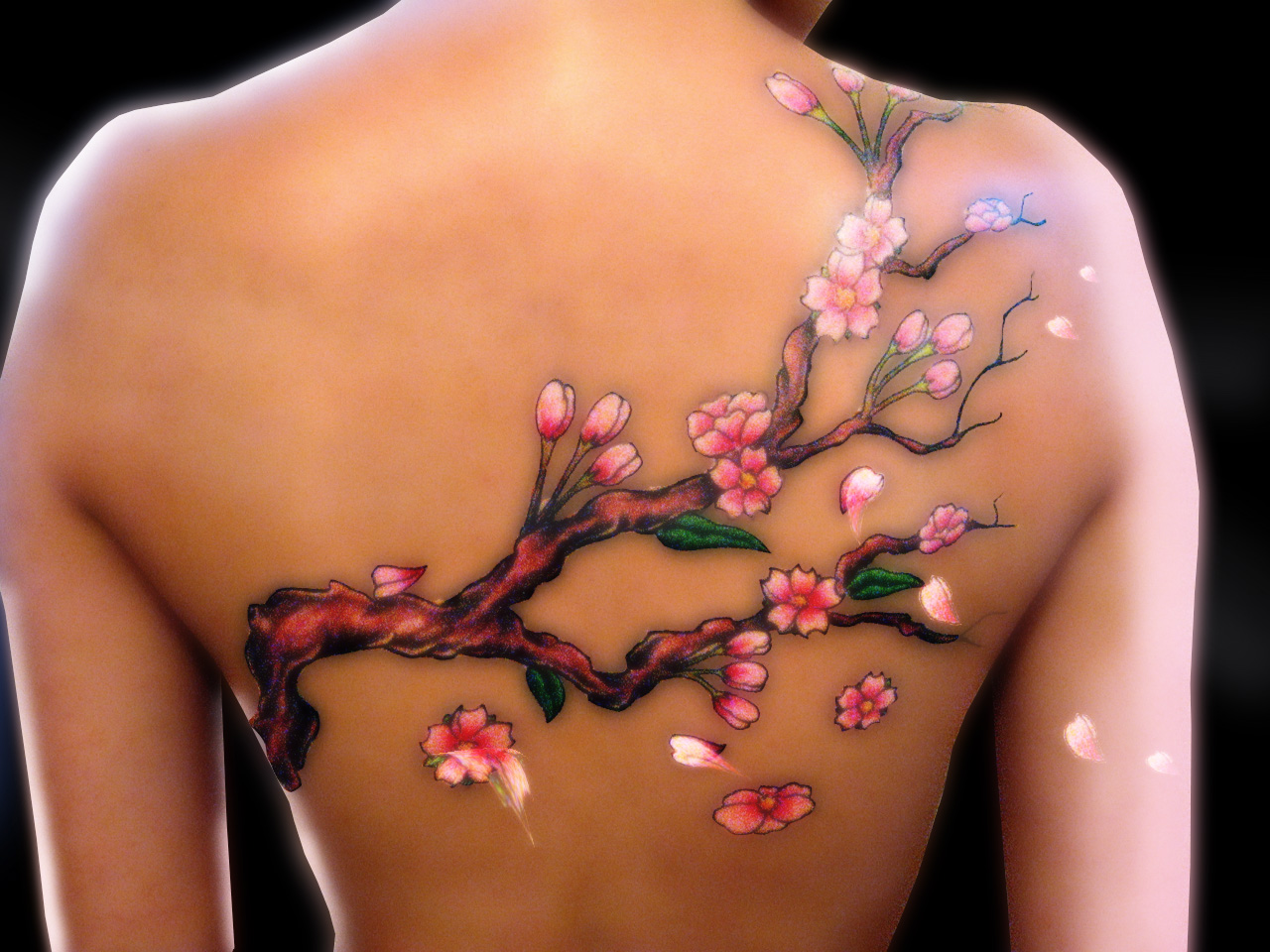 Red Bamboo Tree Tattoo on Back of Girl photo - 1