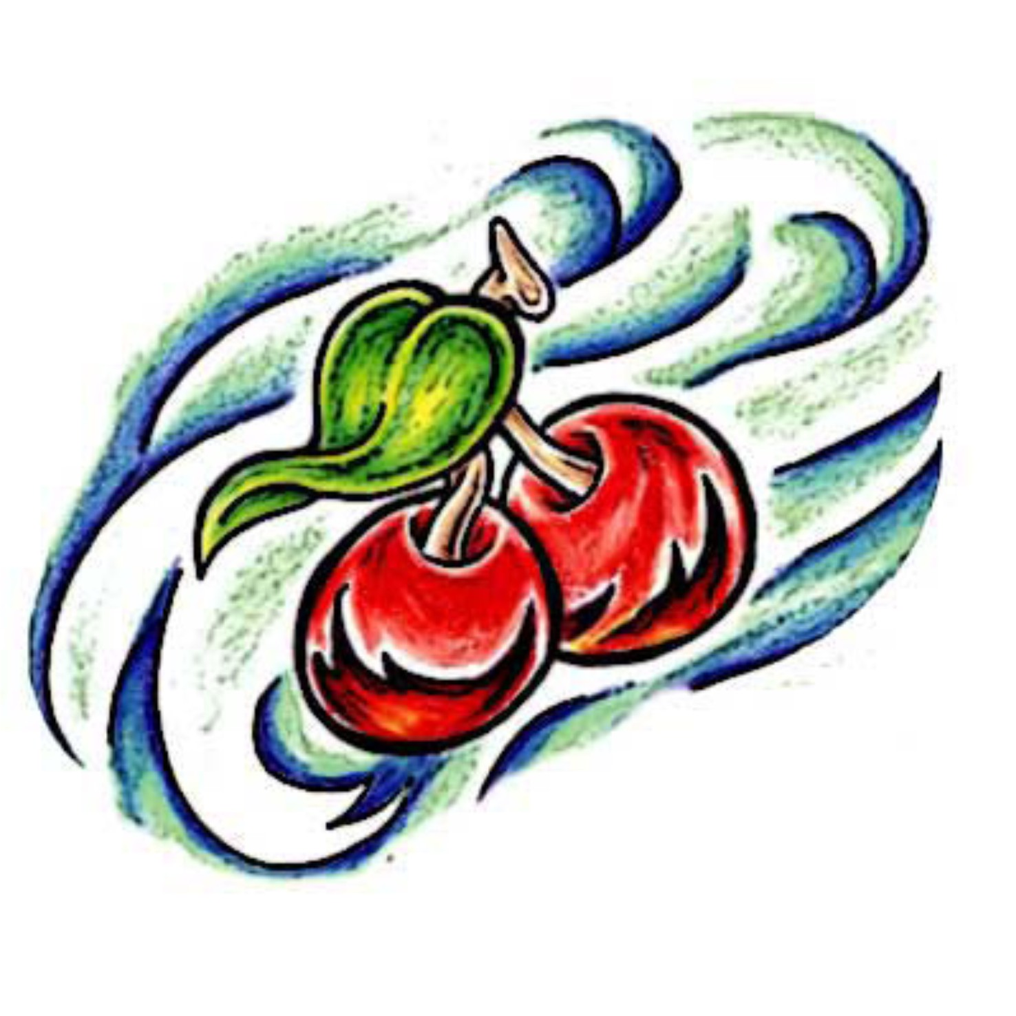 Red Cherries With Green Leaf Tattoo Design photo - 1