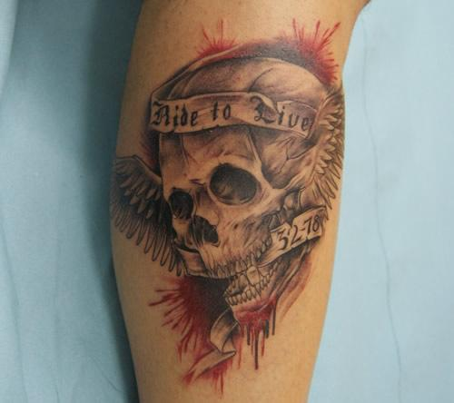 ride to live skull tattoo in 2017 real photo pictures images and sketches tattoo collections. Black Bedroom Furniture Sets. Home Design Ideas