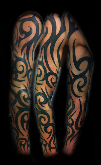 Right Full Sleeve Tribal Tattoos For Guys photo - 2