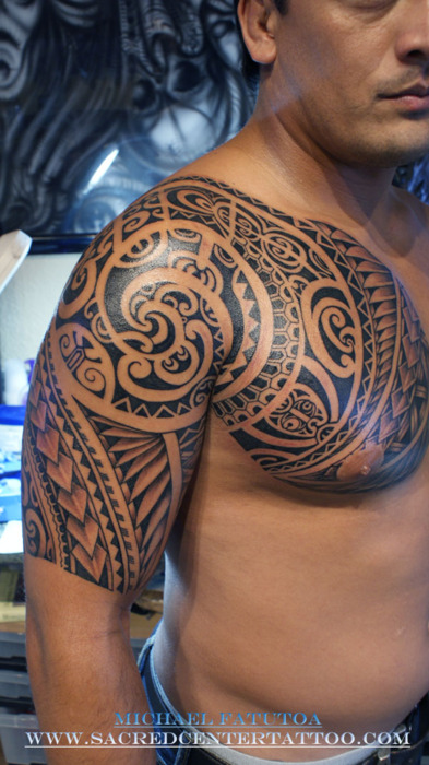 Right Half Sleeve Polynesian Tribal Tattoos photo - 2