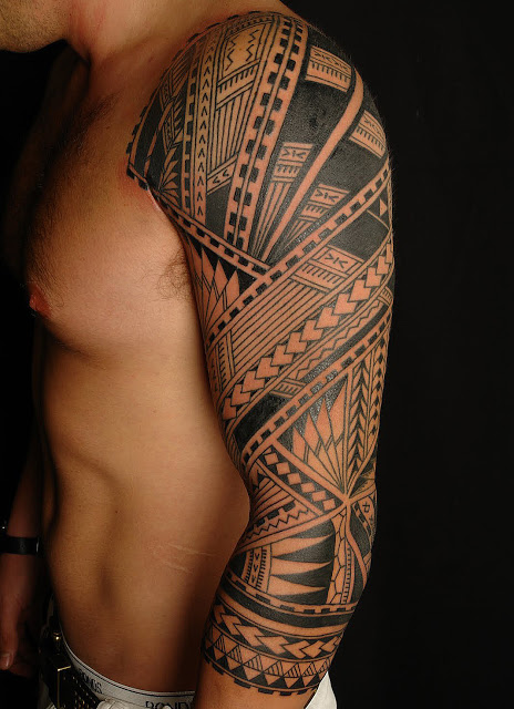 Right Half Sleeve Tribal Tattoos For Men photo - 3