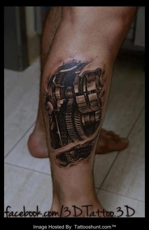 Right Leg Biomechanical Tattoo photo - 1