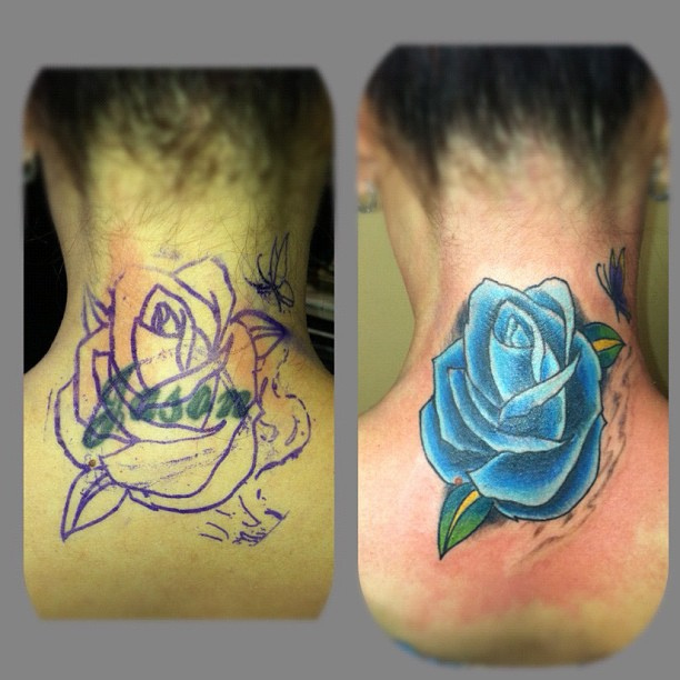 Rose And Name Neck Tattoos photo - 2