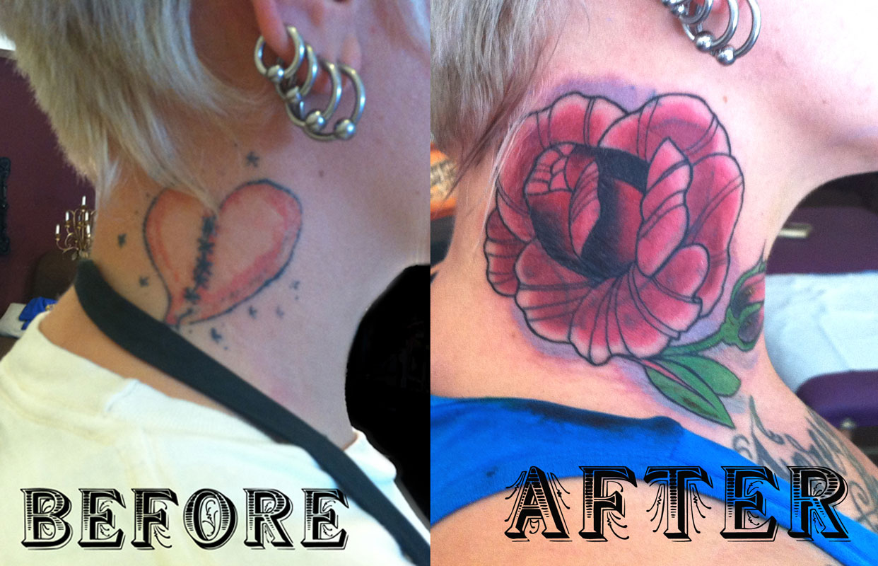 Rose Neck Cover Up Tattoos photo - 2