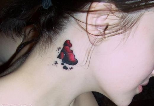 Rose Tattoo On Side Of Neck For Women photo - 2