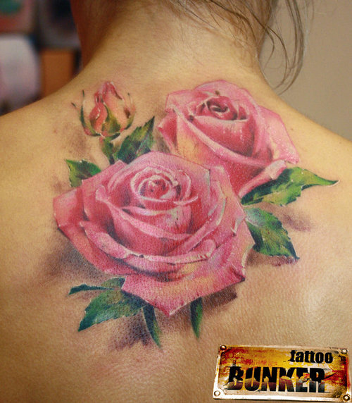 Rose With Leaves Back Neck Tattoo photo - 2