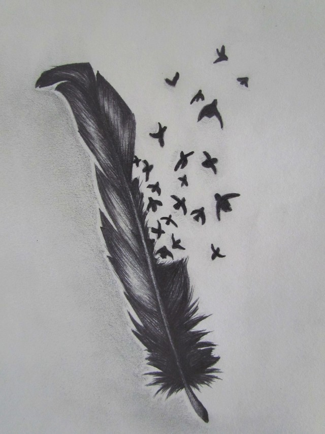 Rose n Feather Tattoo Design photo - 1
