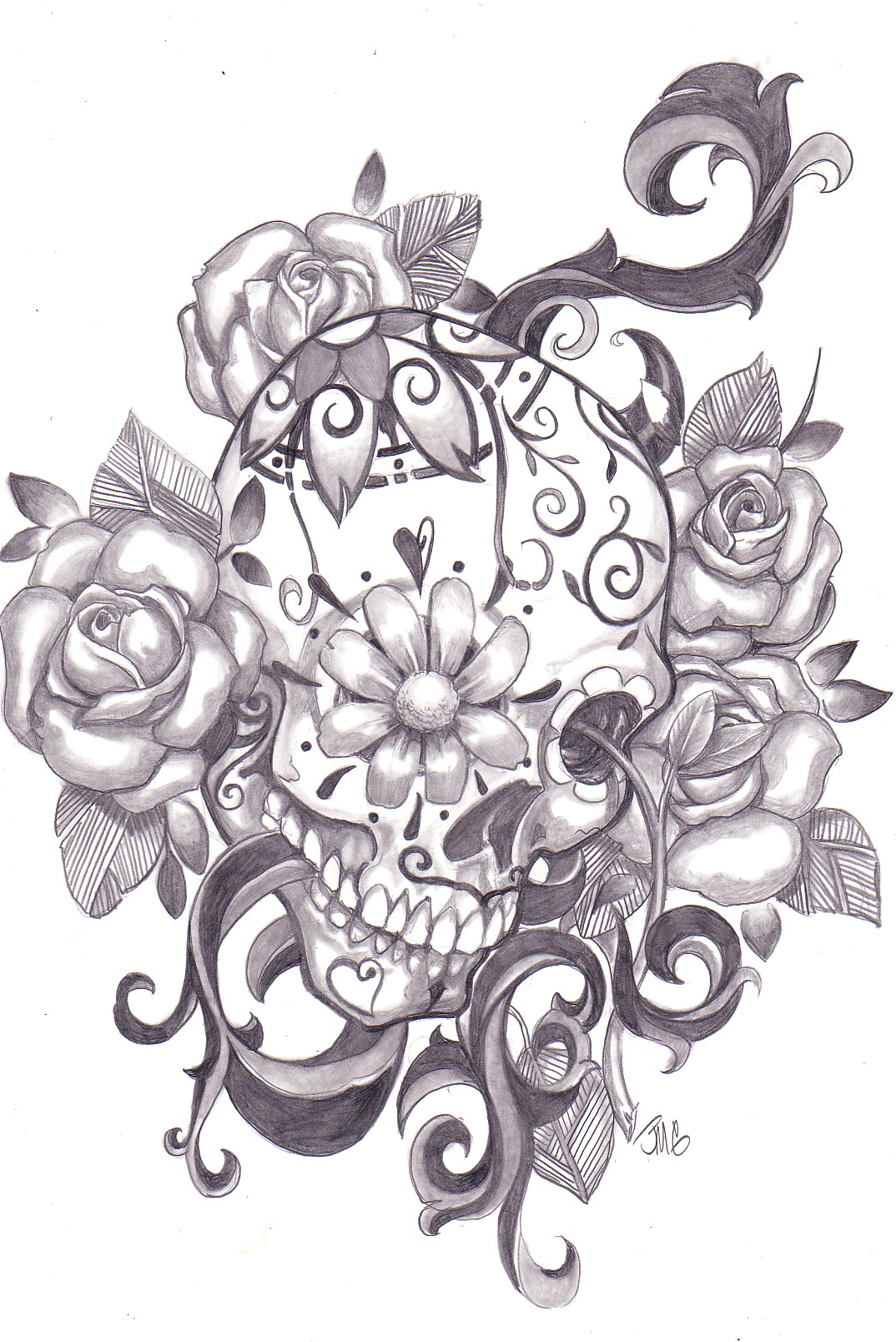 Roses And Mexican Sugar Skull Tattoo On Back Body photo - 1