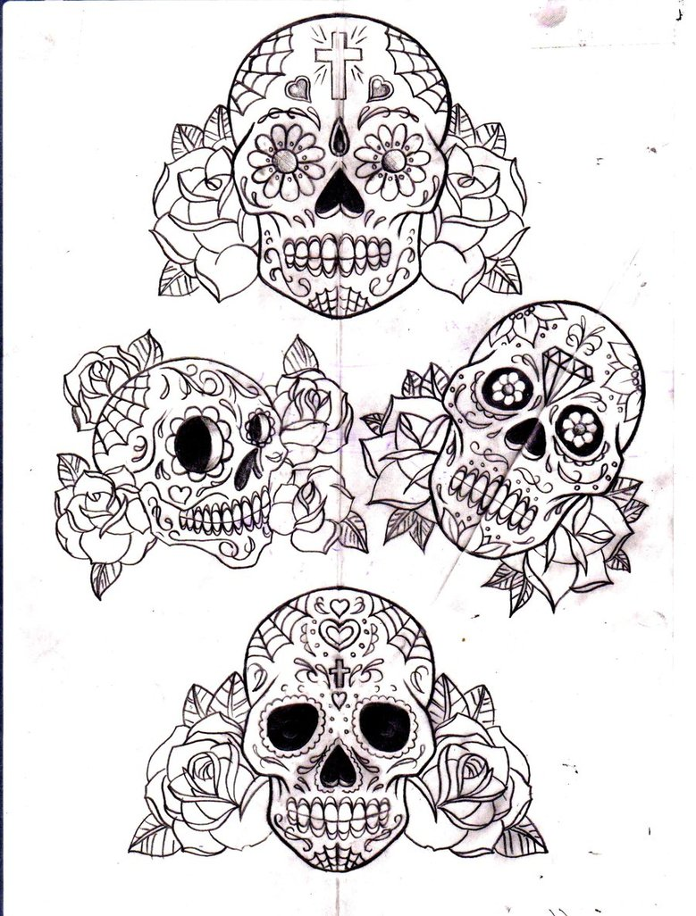 Roses And Mexican Sugar Skull Tattoo Picture photo - 1