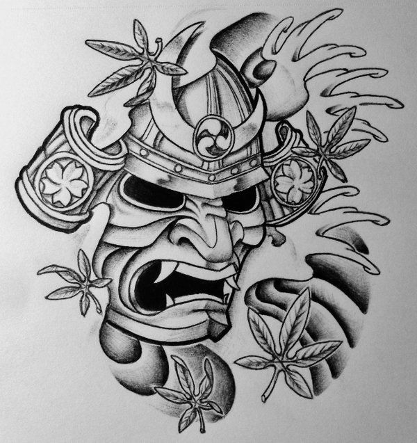 Samurai Mask Tattoo Image photo - 2