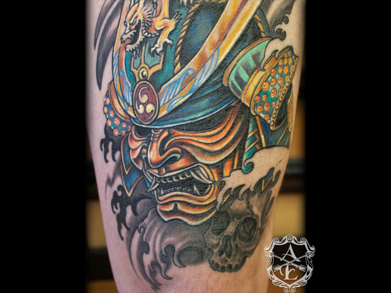 Samurai Mask Tattoo Image photo - 3