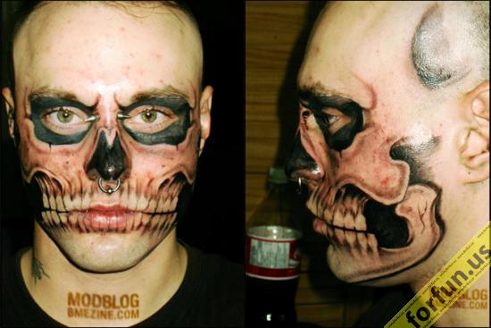 Scary Mask Tattoo On Arm photo - 1