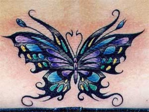 Sexy Back With 3D Butterfly Tattoo photo - 2