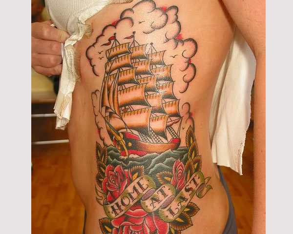 Ship Flying Birds And Octopus Sleeve Tattoos photo - 1