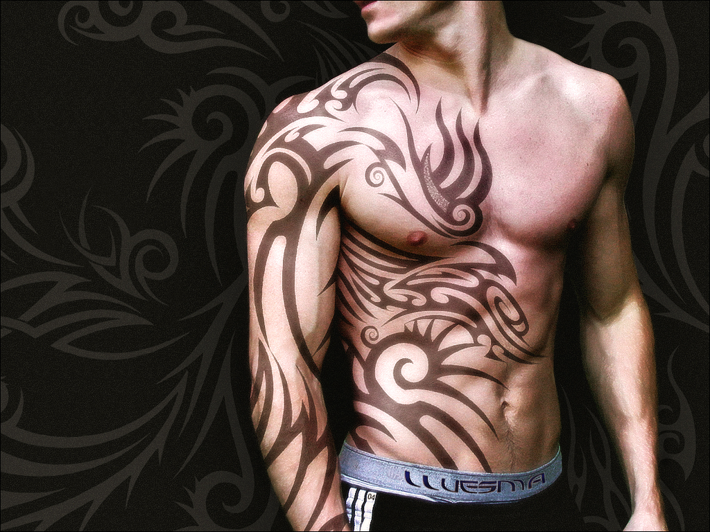 Simple Tribal Tattoo For Men On Chest photo - 3
