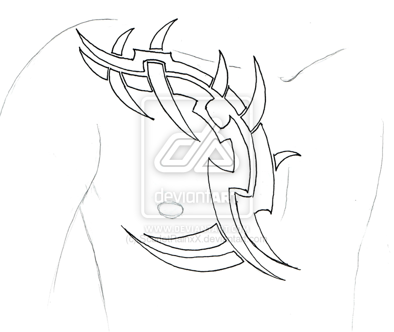 Simple Tribal Tattoo On Chest photo - 3