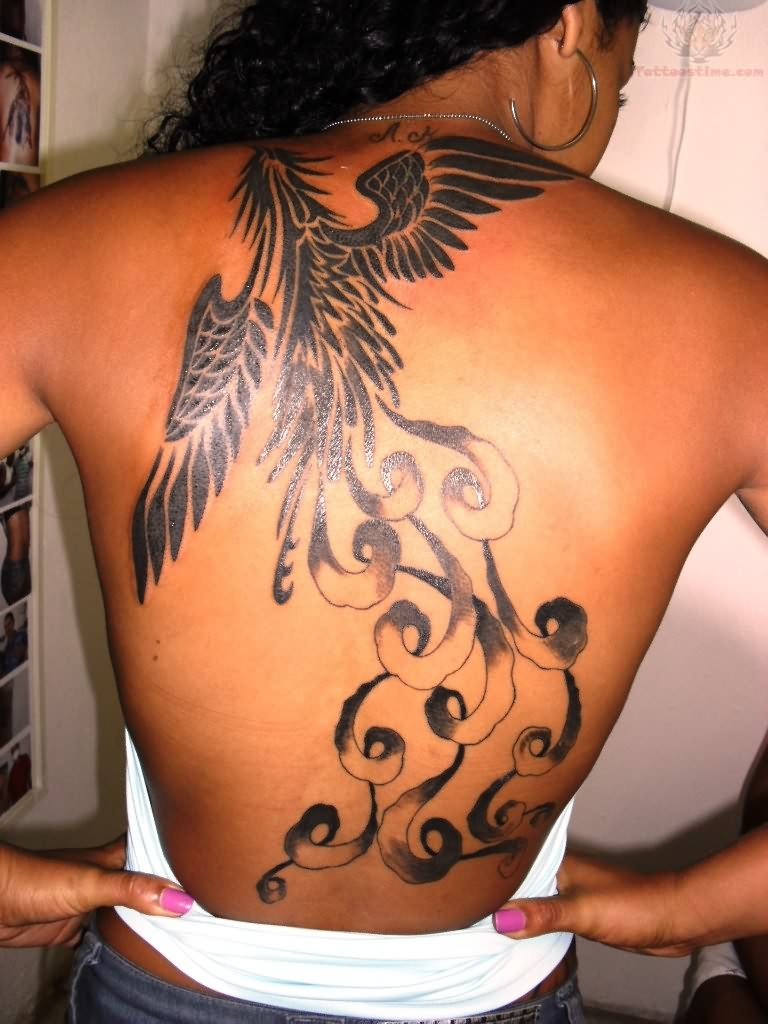 Sitting Angel Girl Tattoo On Back photo - 3