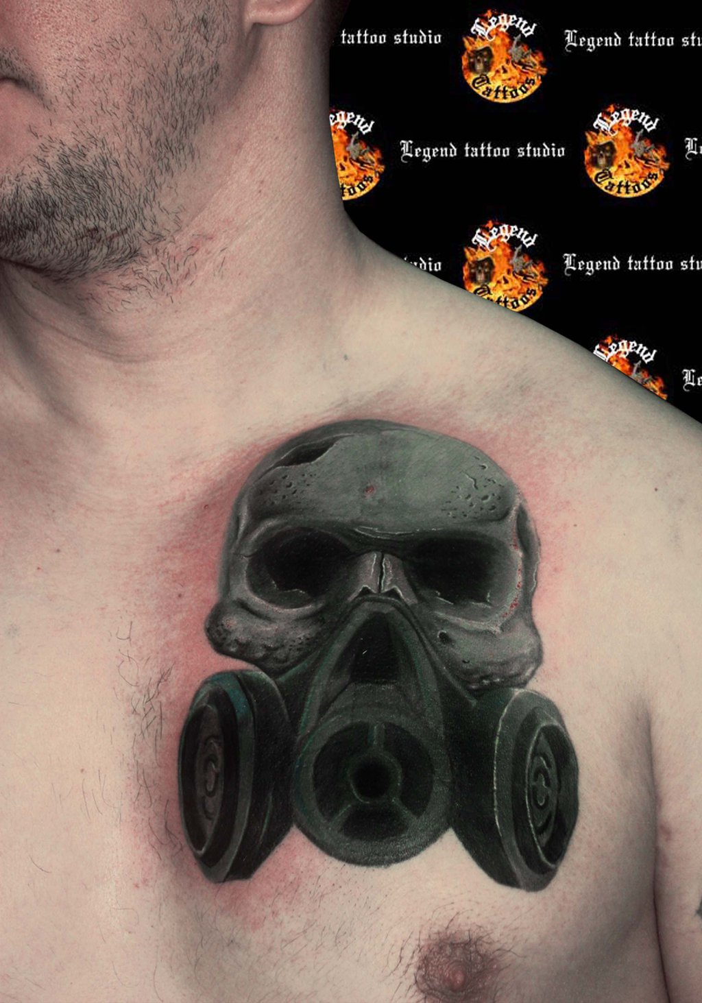 Skull Gas Mask Tattoo On Chest photo - 3
