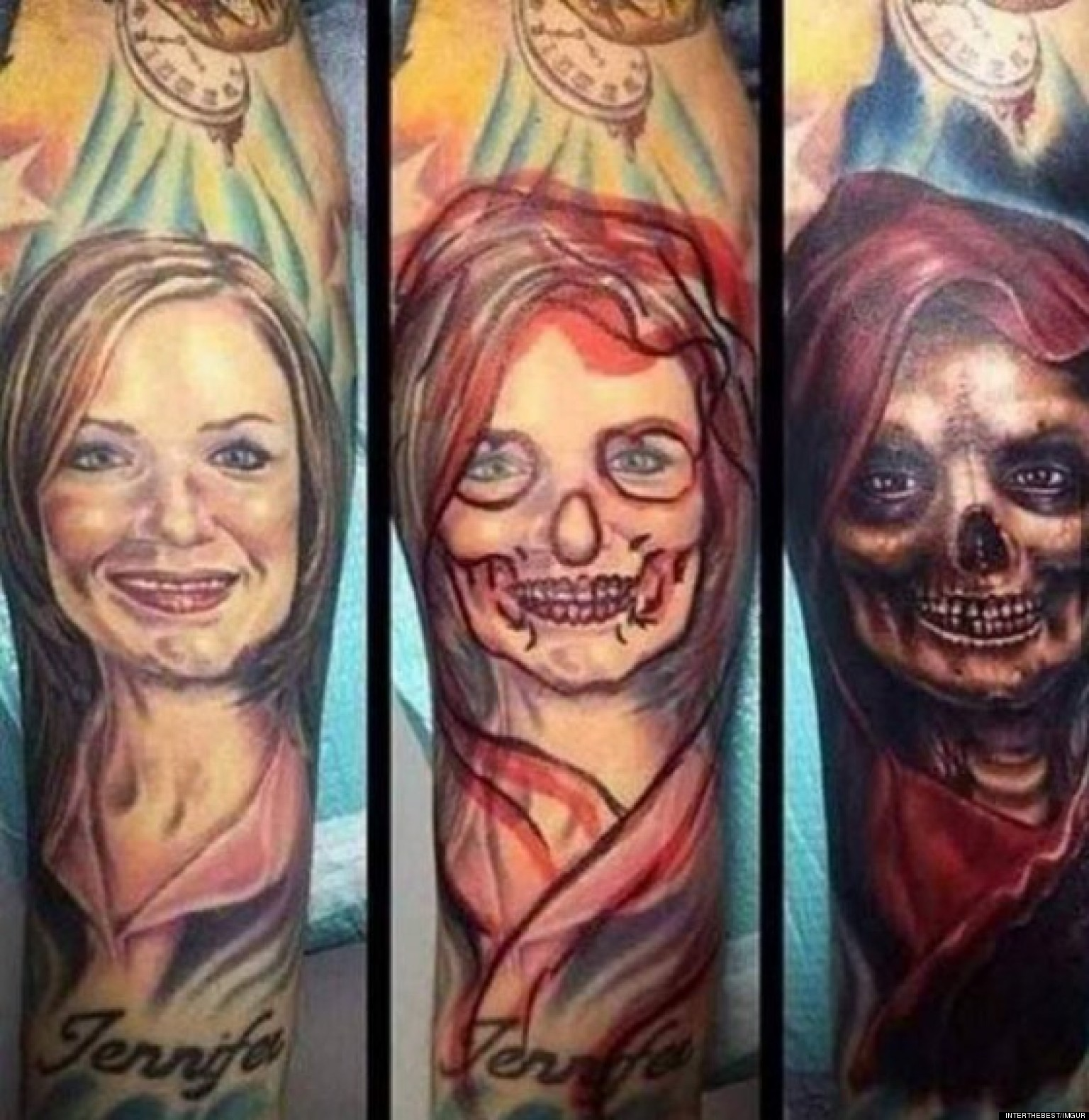 Skull Mask And Flames Tattoo Designs On Rib Side photo - 2