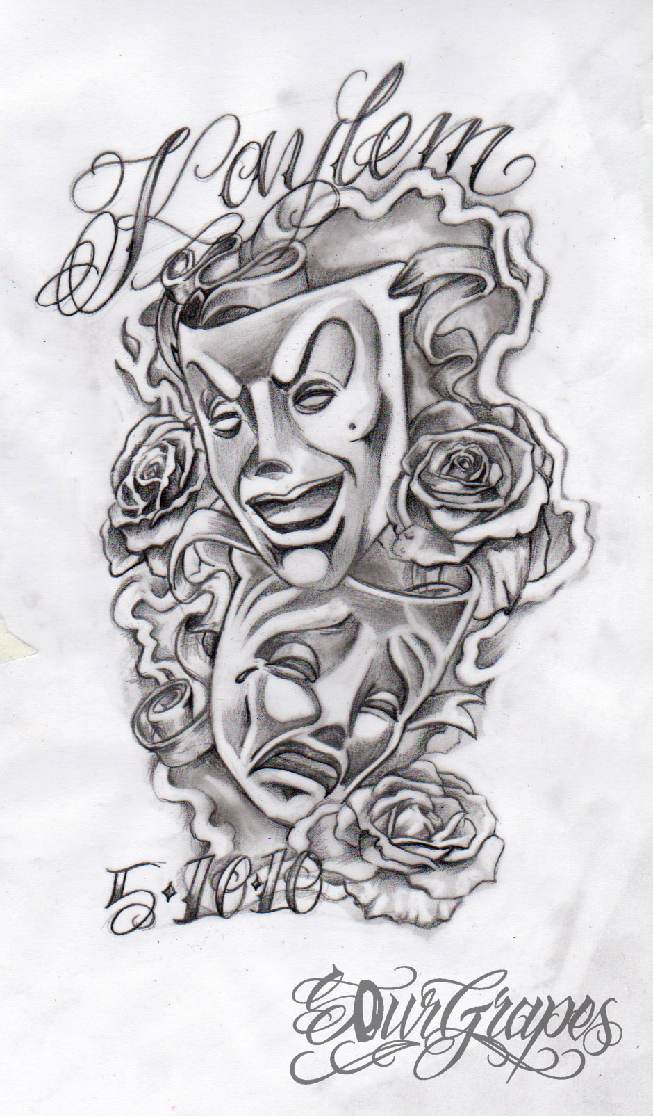 Skull Masks Tattoo Design photo - 3