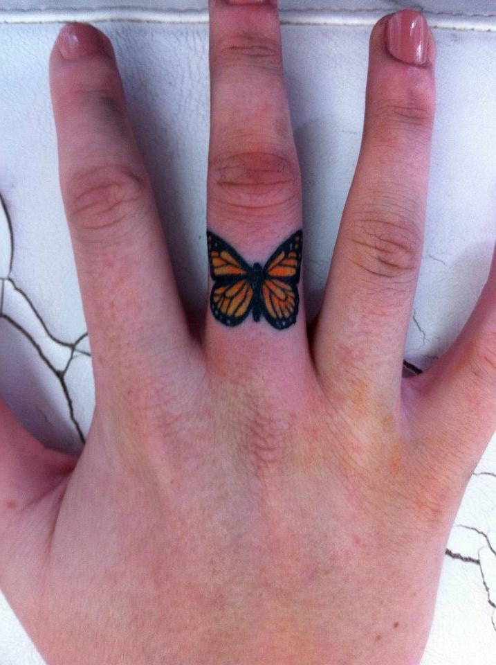 Small Butterfly Ring in fingure Tattoo photo - 2