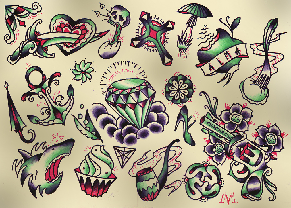 Small traditional tattoo flash set in 2017 real photo for Small tattoo flash