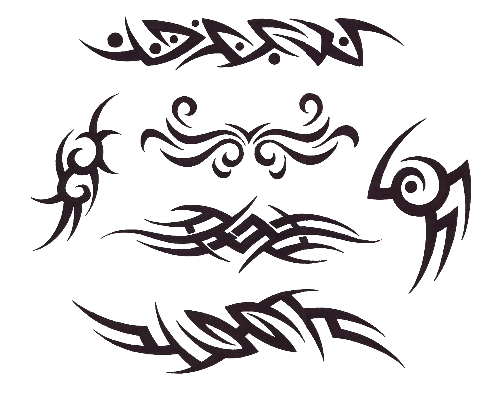 Small Tribal Tattoo Designs On A White Background photo - 3