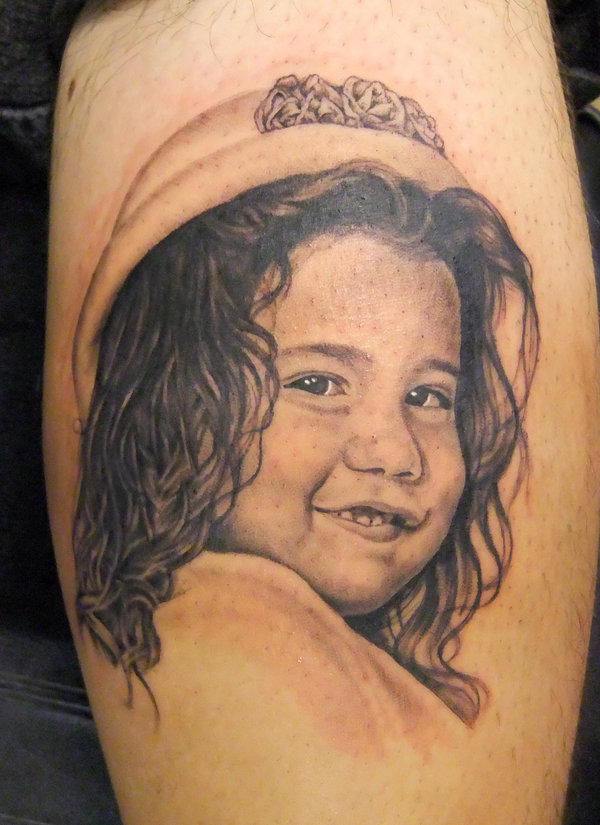 Smiling Girl Portrait Neck Tattoo photo - 1