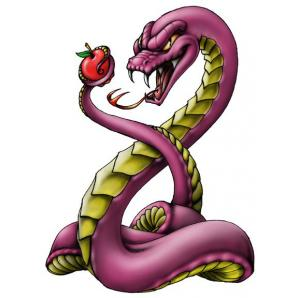 Snake Holding Apple Tattoo Design photo - 1
