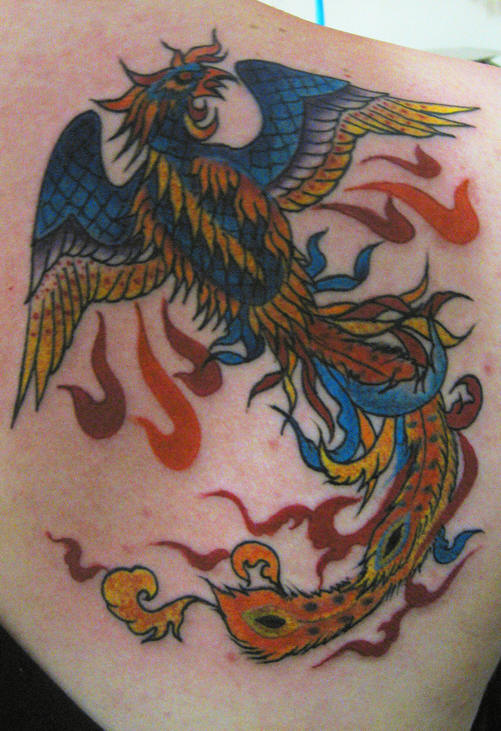 Special Phoenix And Flame Tattoos On Back Shoulder photo - 1