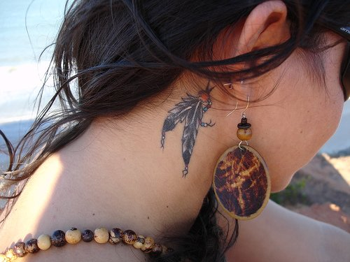 Stylish Tribal Tattoos On Head And Neck For Guys photo - 3