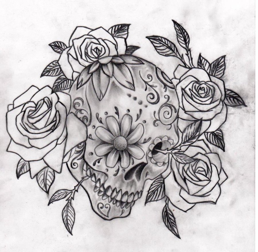 Sugar Skull With Candle Tattoo photo - 1
