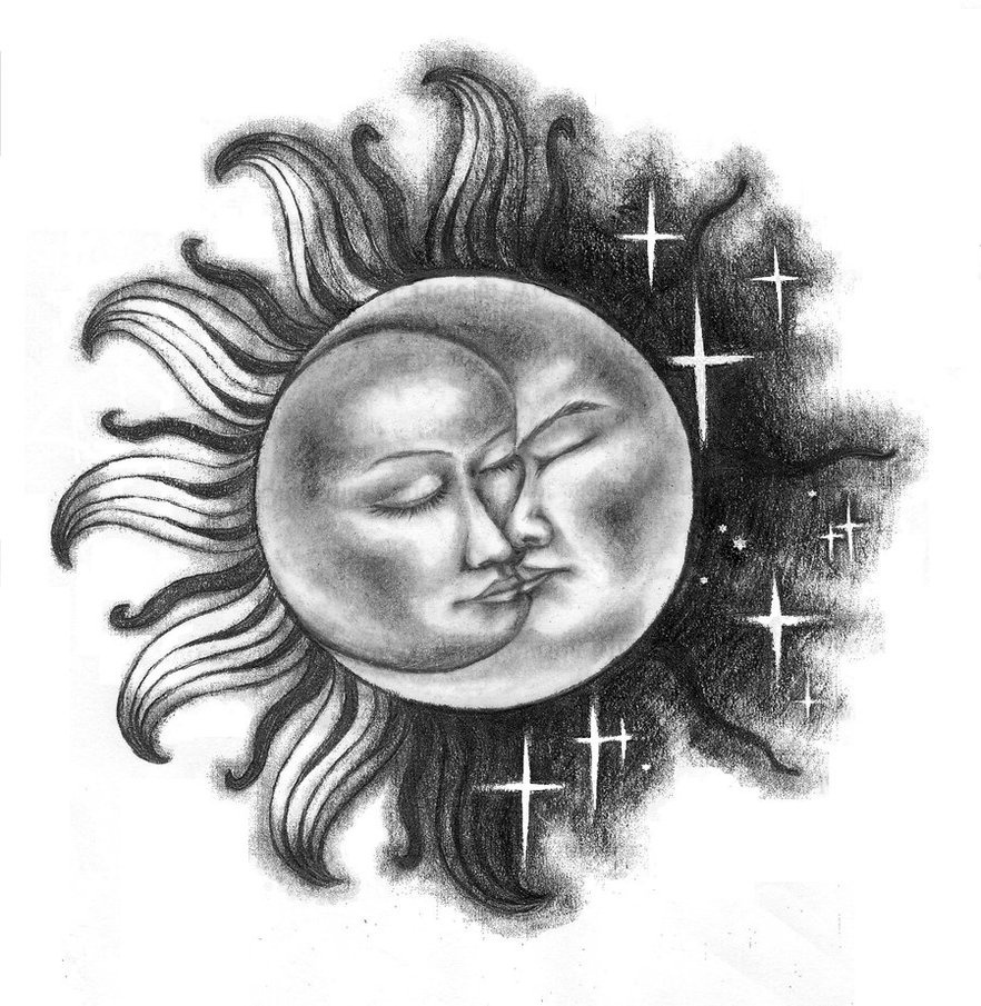 Sun Moon With Stars Tattoos On Lower Back photo - 2