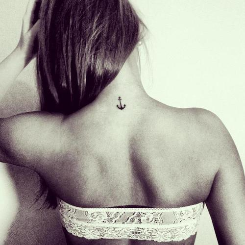 Sweet Anchor Tattoo On Back Neck photo - 1