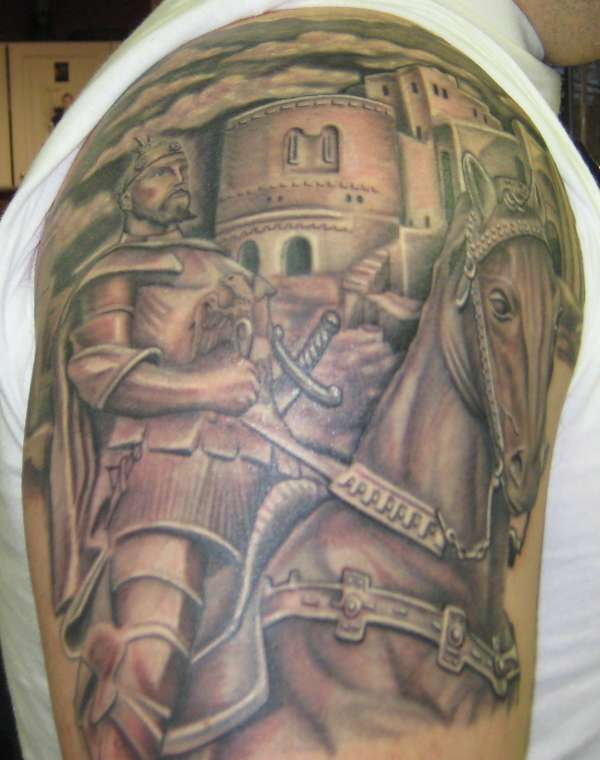 Tattoo Of Warrior On Shoulder photo - 2