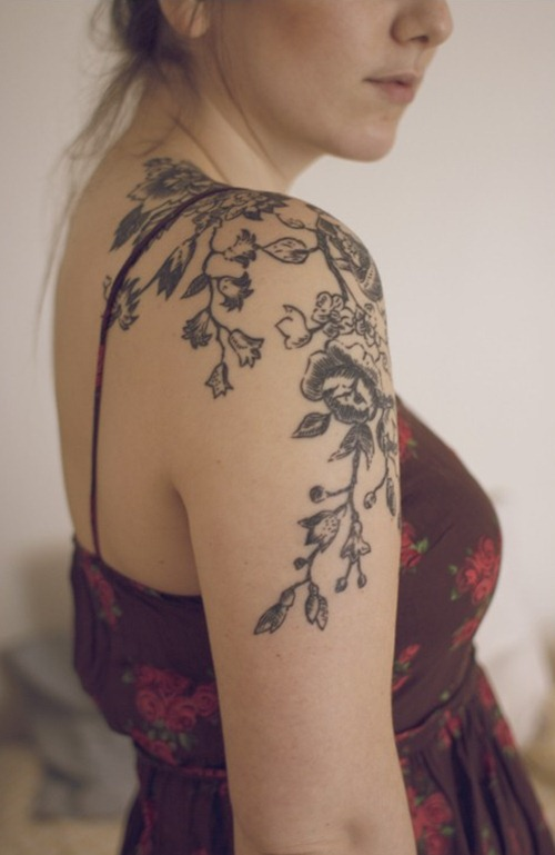 Thin Cat On Tree And Full Moon Tattoos On Shoulder photo - 2