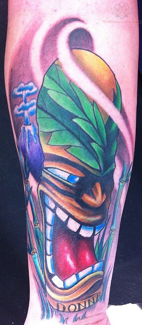 Tiki Mask Tattoo On Arm photo - 3