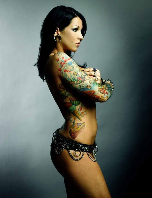 Topless Back With 3D Wings Tattoo photo - 3