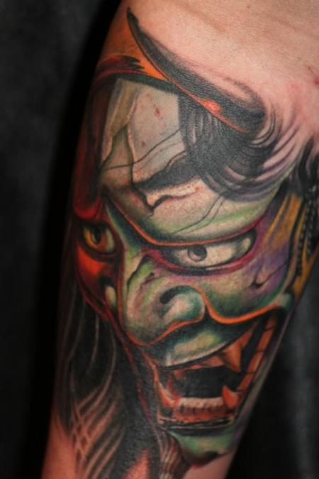 Traditional Hannya Mask Tattoo Design photo - 2