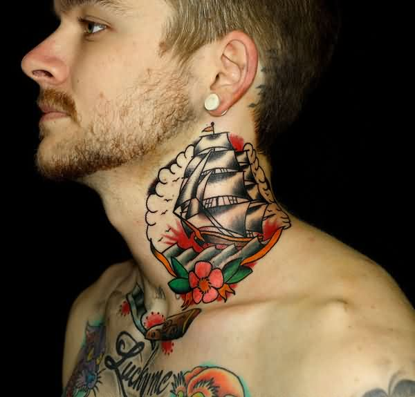 Traditional Ship With Flower Neck Tattoos For Men photo - 1
