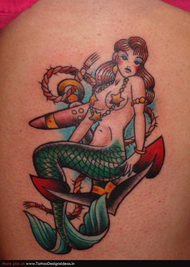 Traditional Siren Mermaid Tattoo Design photo - 2