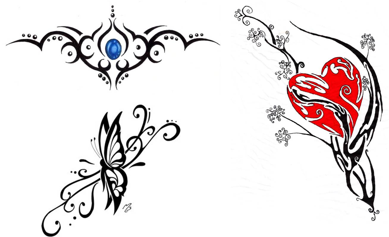 Trendy Tribal 3D Butterfly Tattoo For Girls photo - 3
