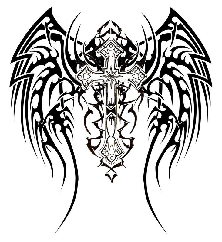 Tribal And Angel Tattoos On Back photo - 1