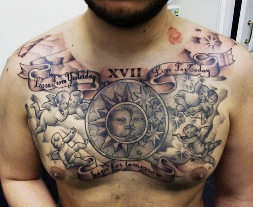 Tribal And Lettering Tattoos For Chest photo - 2