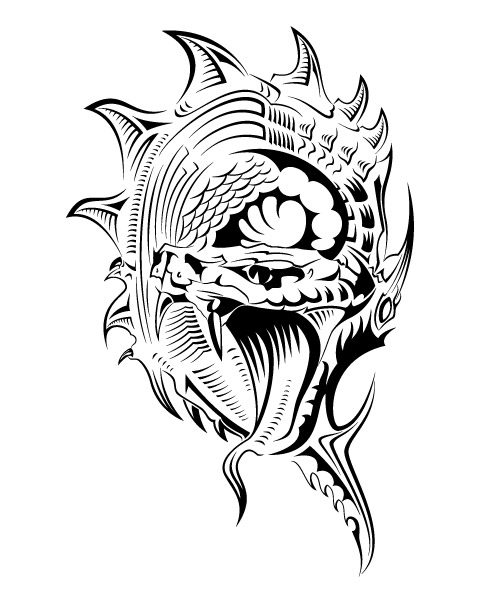 Tribal Angry Wolf Tattoos On Biceps photo - 2