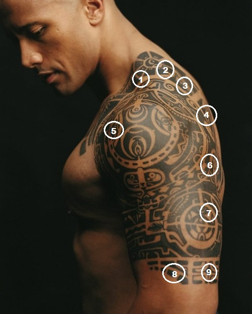 Tribal Aztec Tattoo On Upper Back photo - 2