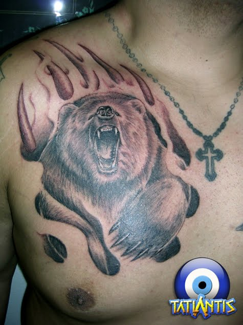 Tribal Bear Tattoo On Chest photo - 2
