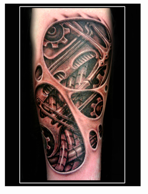 Tribal Biomechanical Tattoo For Arm photo - 2